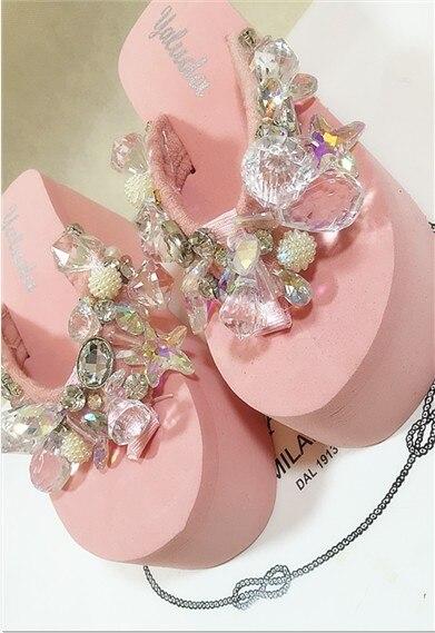 ФОТО Free shipping The new 2016 flip-flops beading full rhinestone sparkling sparkling pink handmade rhinestone flip flops slippers
