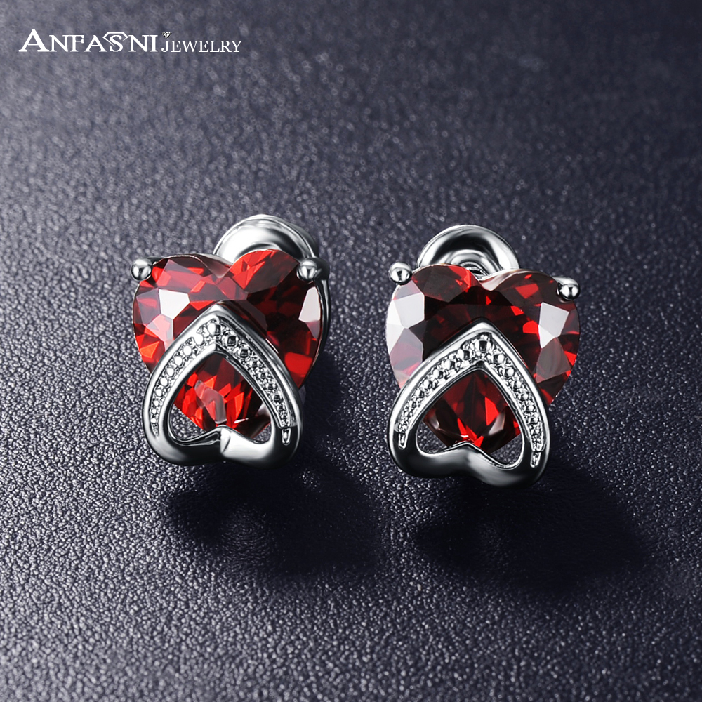 ANFASNI Double Heart Earrings Red And Purple Color Cubic Zirconia Stud Earrings For Woman Brincos CER0271-B