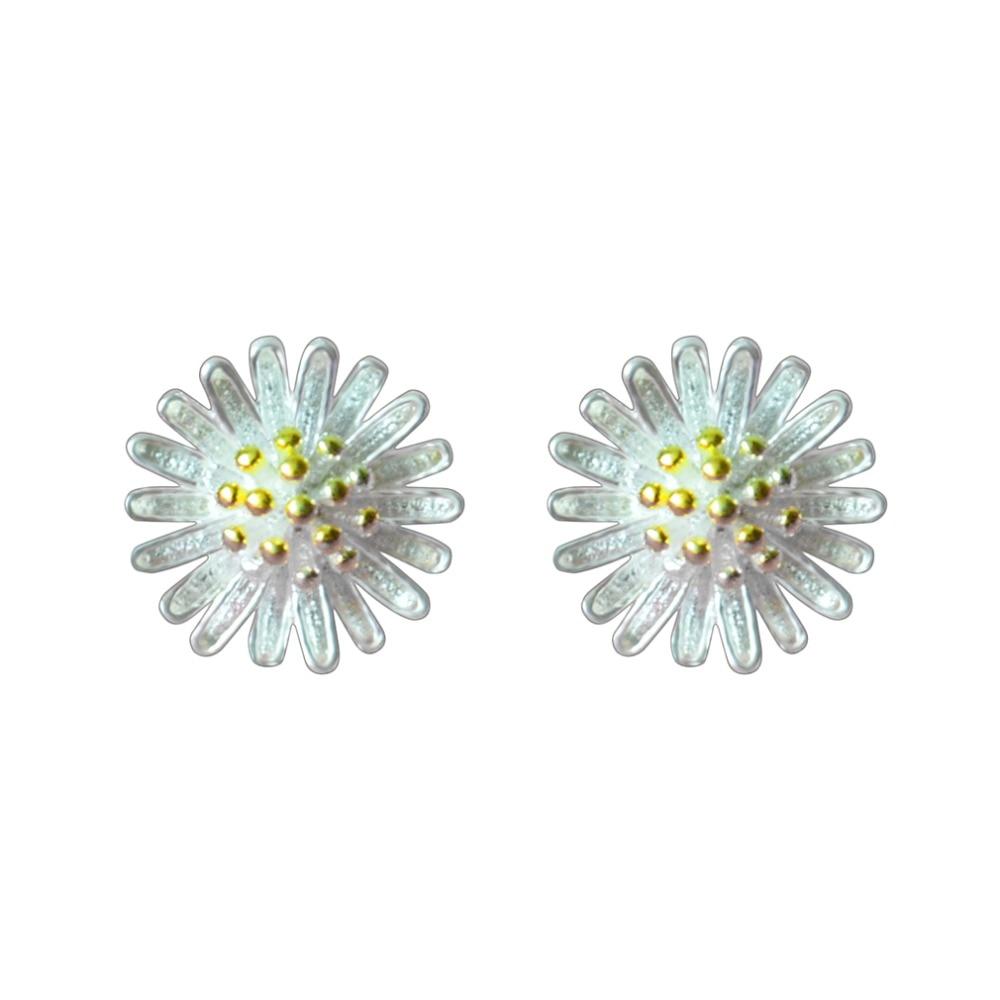 QIMING Fashion Women Pure Earrings Gold Lotus Flower Charm Silver Stud Earrings Girls Jewelry Pendientes Brincos