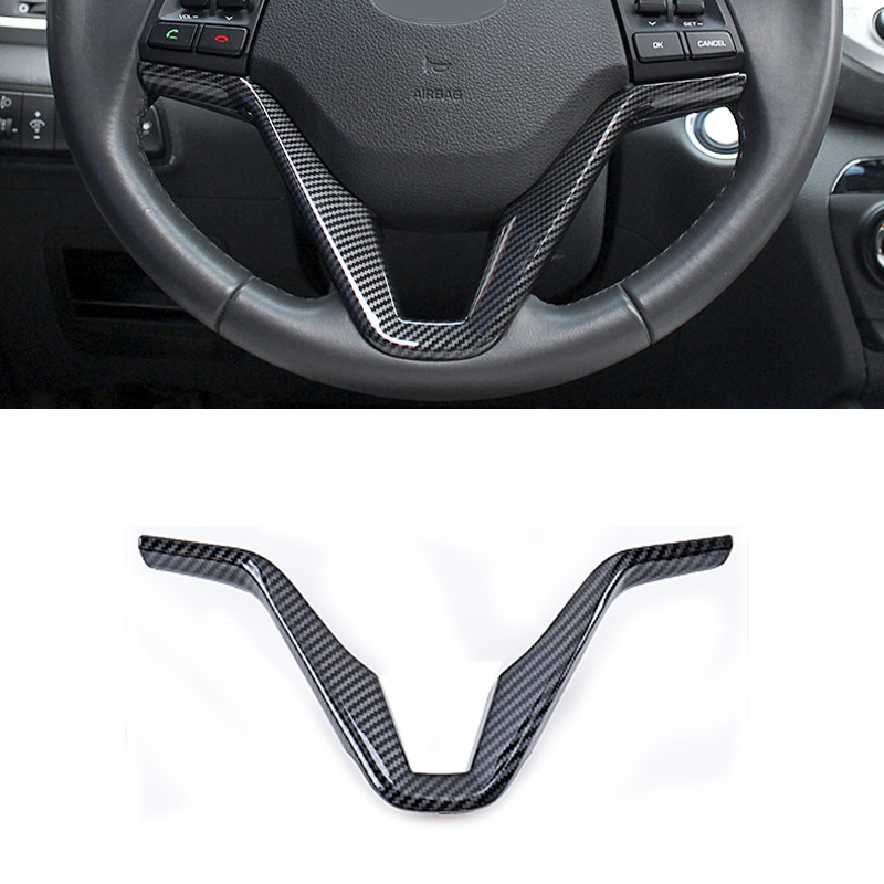 Carbon fiber steering wheel trim cover decorative frame sequins sticker accessories for Hyundai Tucson 2015 2016 2017 2018