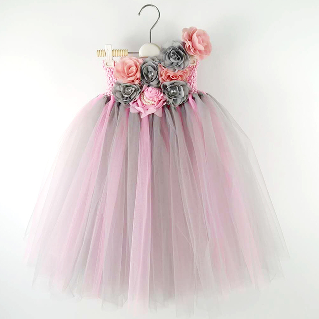 pink tulle baby bridesmaid flower girl dress fluffy ball gown birthday  evening prom cloth tutu party princess wedding dress d3fbcbd98dd0
