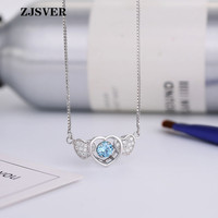 ZJSVER Fine Jewelry 925 Sterling Silver Link Chain Necklace Heart To Heart Shape With Blue Crystal Pendant Silver Women Necklace