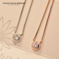 18K Rose Gold Plated Brand Design Single 5mm Zirconia Inlaid Simple Lady Pendant Necklace Gold Silver