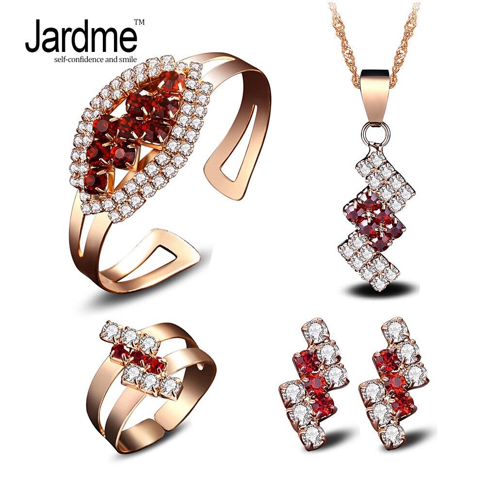 Jardme Jewelery Set Necklace Earrings Ring Bracelet Jewelry Sets for Women Party fine Jewelry turkish Jewelry Set