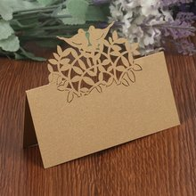 METABLE 50PCS Wedding Guest Name Place Cards Party Paper Table Numbers Card Escort Laser Cut for