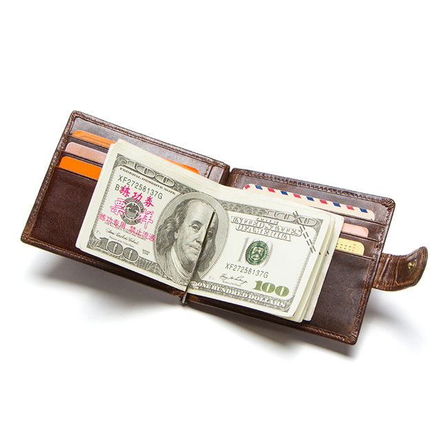 CONTACT'S cow leather money clip men card wallet thin money clamp for 10 cards male bifold credit card case with zip coin pocket 2