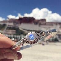 L & P ручной работы непальский лунный камень ручной браслет и браслет для женщин Леди Элегантность Настоящее серебро 925 проба браслет юбилей