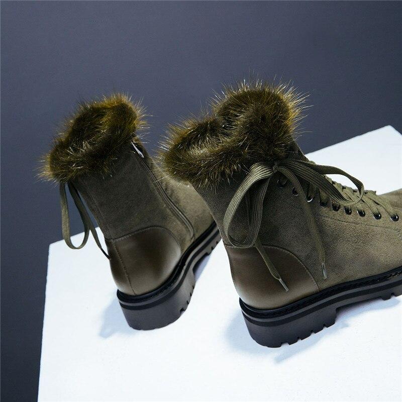 Genuino Cuero Nieve Impermeable Piel verde Ryvba Plataforma Botas La Mujer Gamuza Planos Negro Del Negro Tobillo Zapatos De Invierno Para qtBqwI0