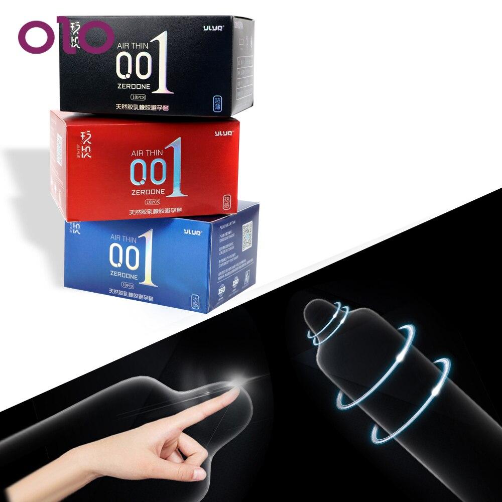 OLO 0.01 Ultra บางเพศของเล่นสำหรับผู้ชาย Ice Heat Touch ผลิตภัณฑ์ 10 ชิ้น/กล่อง Hyaluronic ถุงยางอนามัยธรรมชาติ