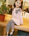 2017 New girls autumn clothing set lovely cat printed children T-shirt+Leggings baby clothes fashion baby wear