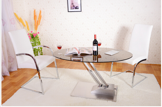 Multi-functional lifting table. Dual-use table. Tempered glass, stainless steel tea table гиалуроновый крем