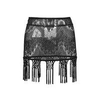 Semitransparent Tassels Gothic Women Sexy Black Lace Mini Skirt Gothic Lace Tassels Skirt Sexy Printed Zipper Bag Hip Miniskirt