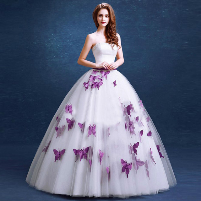 Marvelous Elegant Purple Wedding Dress 2016 Fashionable Butterfly Appliques Floor  Length Bridal Dress For Pregnant Ball Gown