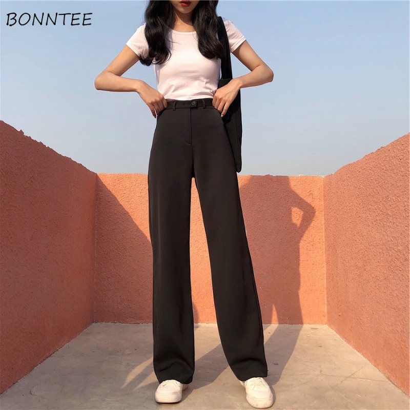 Pants Women Spring Ladies Soft Elegant Trendy Single Button Solid Womens Straight Suit Slim High Quality Students Thin Long Pant