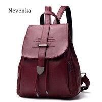 NEVENKA Women Leather Backpack Female Fashion Bag Ladies Softback Character Embossing Backpacks Unisex School Style Bag