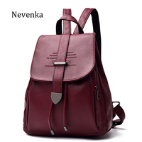 NEVENKA Women Leather Backpack Female Fashion Bag Ladies Softback Character Embossing Backpacks Unisex School Style Bag