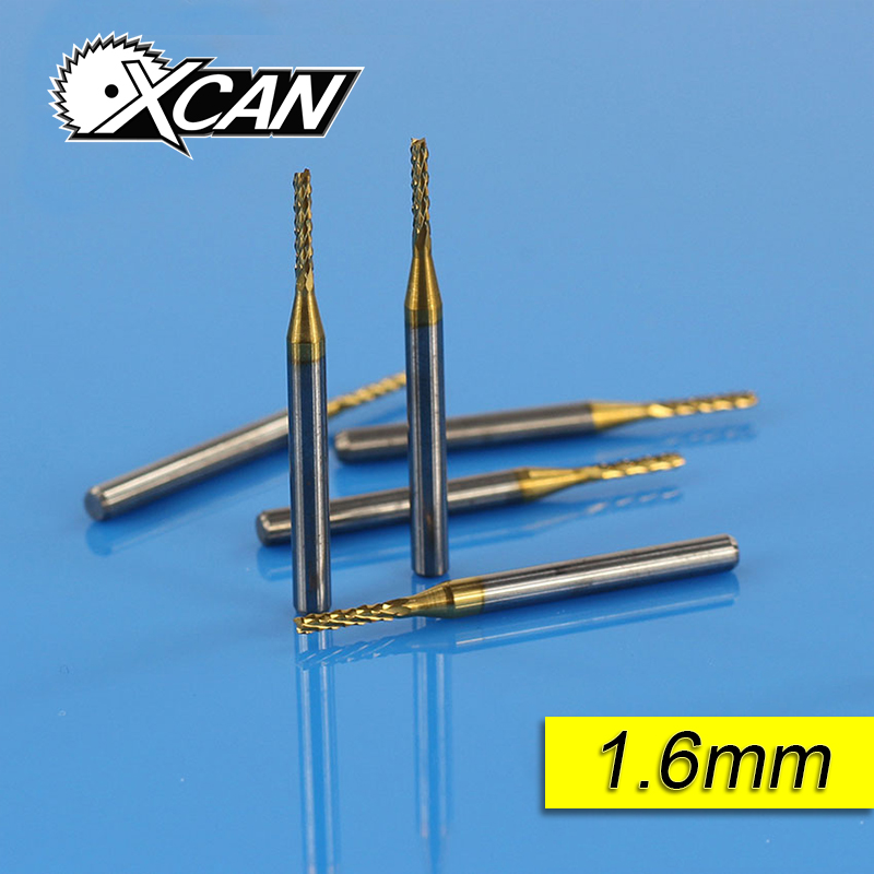 цена на XCAN 10 Pieces Titanium coated Diameter 1.6 mm Shank Diameter 1/8 Inch PCB Milling Cutter CNC Metalworking Micro Milling cutter