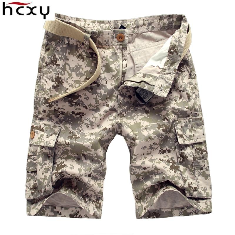 HCXY 패션 여름 스타일 캐주얼 망 팬티 위장 카고 반바지 남성 코튼 작업 육군 아름다움 반바지 4 색