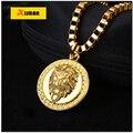 MTX925 Позолоченные Голова Льва подвески Способа Высокого Качества Хип-Хоп франко длинные ожерелья золотая Цепочка для мужчин бижутерия новый 2016
