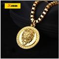 MTX925 Gold Plated Lion Head pendants High Quality Fashion Hiphop franco long necklaces gold Chain for men bijouterie new 2016