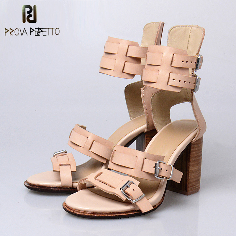 Prova Perfetto Summer New Style Cow Leather Women Sandals Shoes Square High Heel Peep Toe Shoes Belt Buckle Sandals Mujer prova perfetto rome style mixed color tassel flowers summer sandals shoes thick heel wedge platform clip toe sandals for women