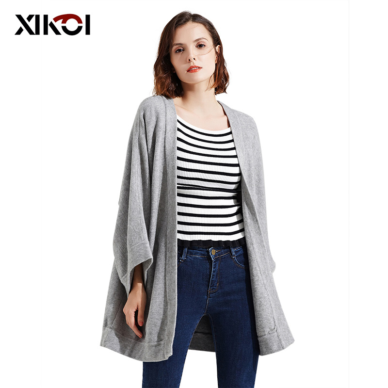 XIKOI New Women Sweaters Fashion V-Neck Solid Lady Full Cardigans Batwing Sleeve Woman Open Stitch Sweater Coat  Dropshipping