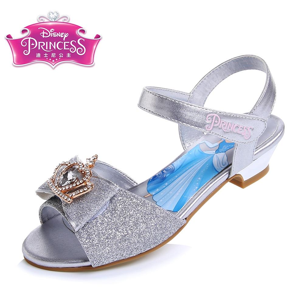 Disney Summer Girls Sandals Shoes Princess Dress 4 Color Shoes Kids Girls Bowtie Beach Sandals PU Leather Shoe Size 28-35 DP0023