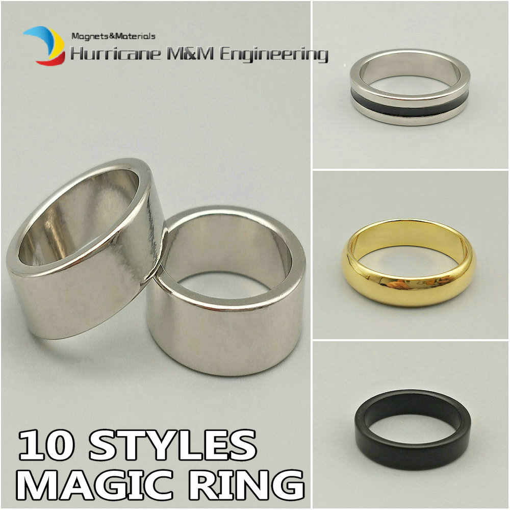 2-100PC Magnetic Magic Ring S M L XL Jewery Magnet Magic Props 10 Styles NdFeB Ring Neodymium Toy Magnet 4 Home Bar Tricks 6924 magic ring phantom impregnable fortress magic set white blue