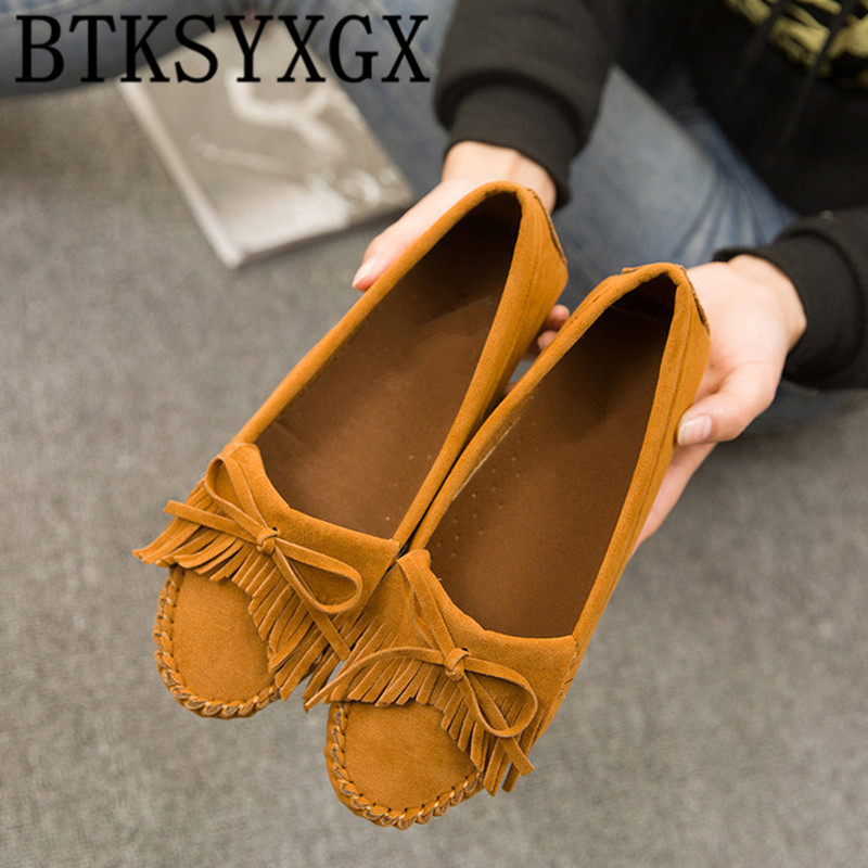 BTKSYXGS 2017 New Women's flats Casual shoes Female leather Tide Fashion round Toe bowknot Tassel Comfortable Woman shoes Ladies new listing pointed toe women flats high quality soft leather ladies fashion fashionable comfortable bowknot flat shoes woman