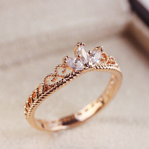 2016 new arrival Rose Gold CZ Dainty Crown Ring free shipping in