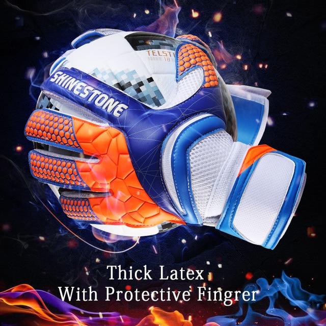 Guantes de portero de fútbol de talla grande para niños Shinestone guantes de fútbol de látex grueso profesional con protección de dedos