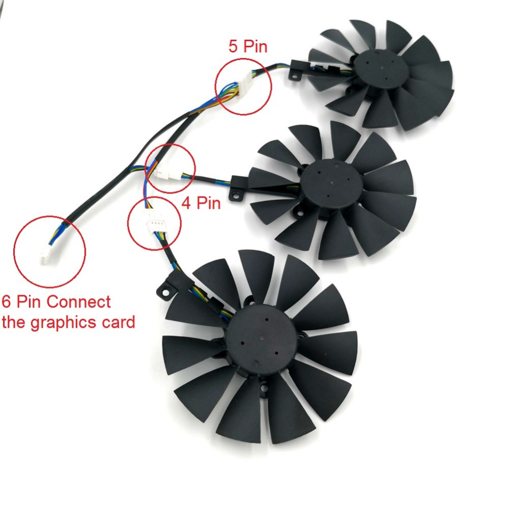 Original EVERFLOW T129215SU Graphics Replacement Fan or Cable for ASUS STRIX R9 390X 390 RX480 RX580 GTX 980Ti 1060 1070 1080