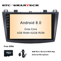 SMARTECH 2 Din Android 8.0 OS Car Radio GPS Navigation for Mazda 3 Axela 9 inch Octa Core 4GB RAM 32GB ROM With CAN BUS Decoder