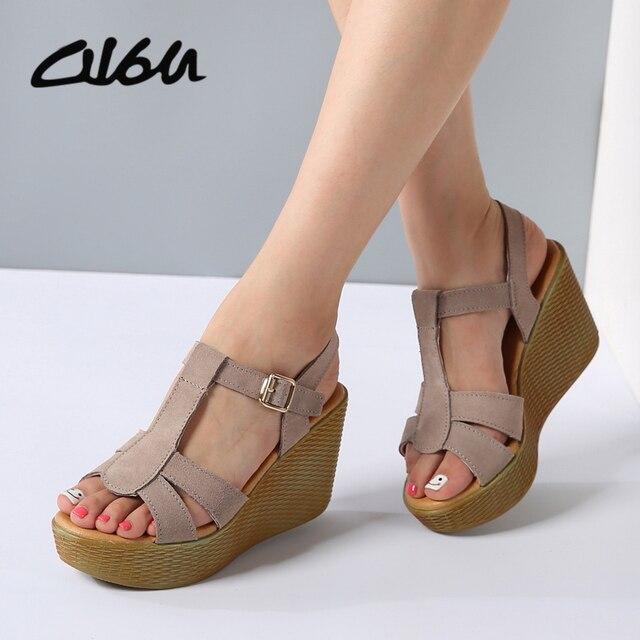 O16U Sandali Delle Donne Scarpe di Cuoio della piattaforma tacchi alti Sexy  Open toe Gladiatore Roma 27487c6e18b