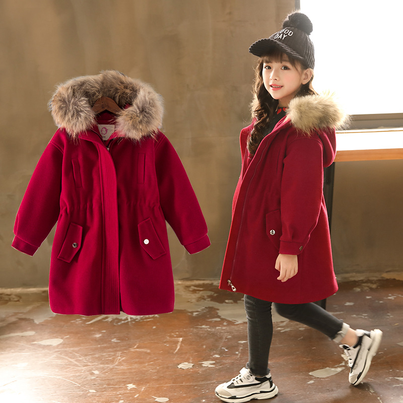 2018 Autumn Winter Girls Woolen Warm Coat Children Raccoon Fur Hooded Jacket For Kids 4-12 Year Quilted Windbreaker jacket slim fit ruffle long sleeved hooded quilted coat for women