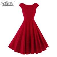 SHIBEVER Summer Women Party Swing Dresses Fashion Elegant O-Neck Vintage Ladies Dresses Solid Classic Casual Female Dress ALD30