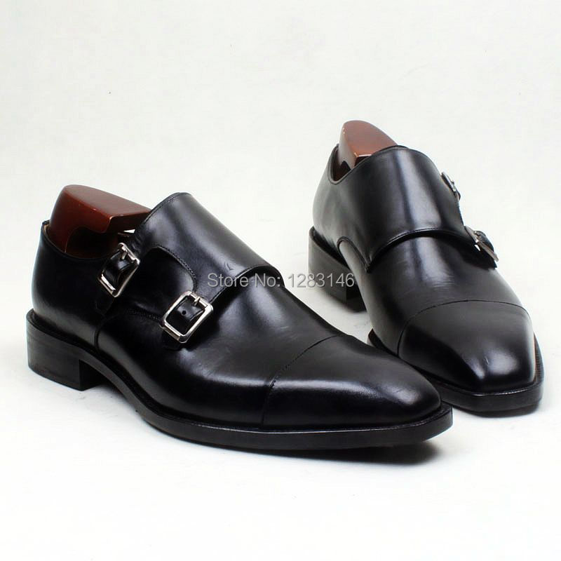 obbilly Custom Handmade Leather Upper/outsole/Insole Black Double Monk Straps Square Captoe Toe Men's Flats Shoe No.MS109