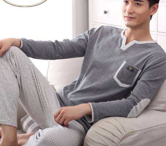 2016 autumn pajamas modal&cotton women and men sleepwear classic stripe lounge wear long sleeve lovers pajamas set