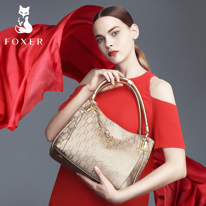 FOXER Brand Article Women Handbags Leather Shoulder Bag for Female Fashion Totes Purse Tassel Bags for Women