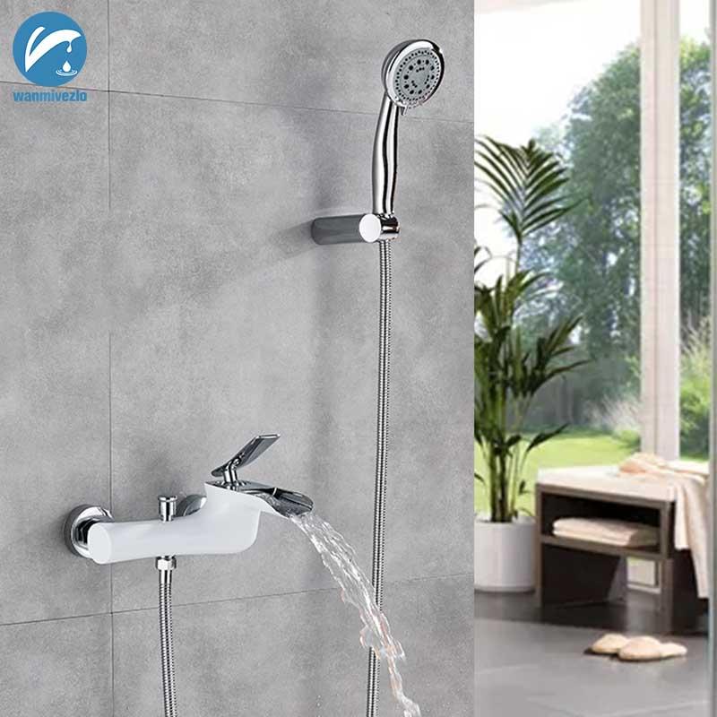 Chrome Brass Wall Mounted Basin Sink Waterfall Faucet Bath//Shower Tub Mixer Tap