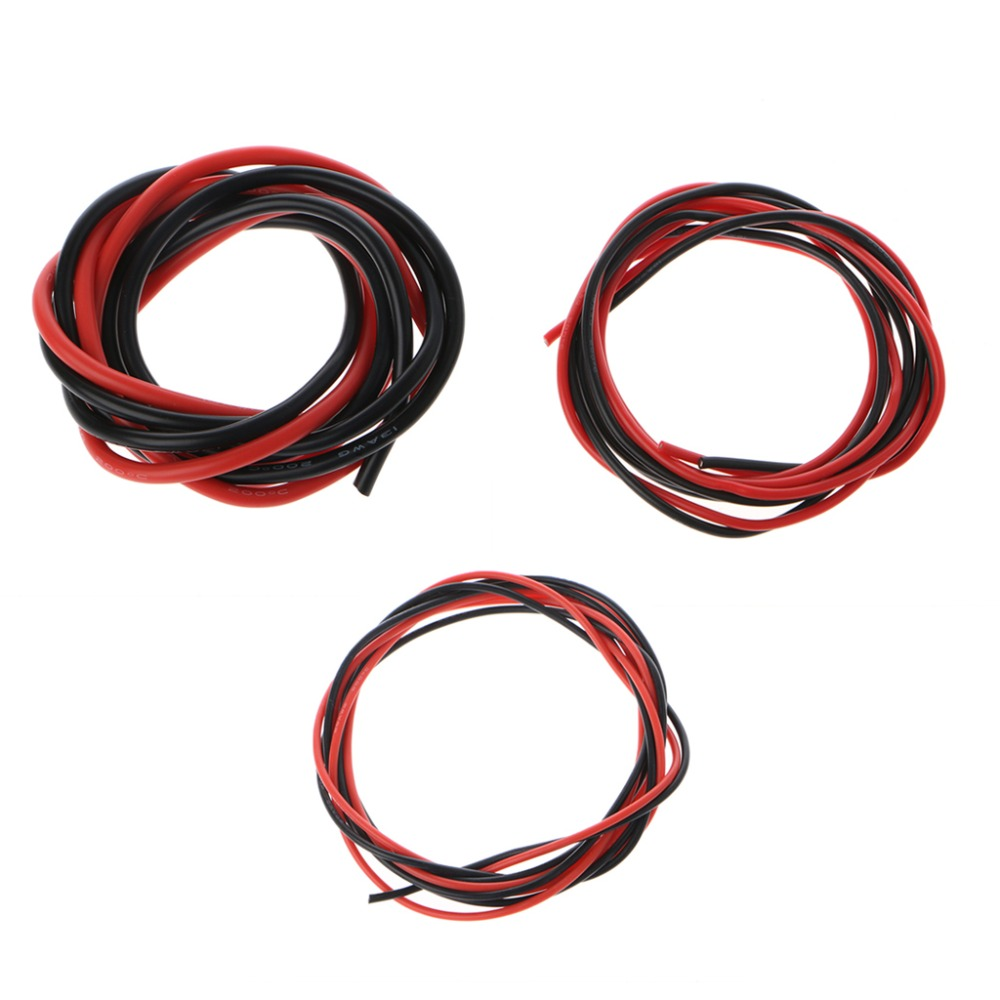 2 Pcs Flexible Silicone Wire 13/18/20AWG High Temperature Resistance Electronic Conductor