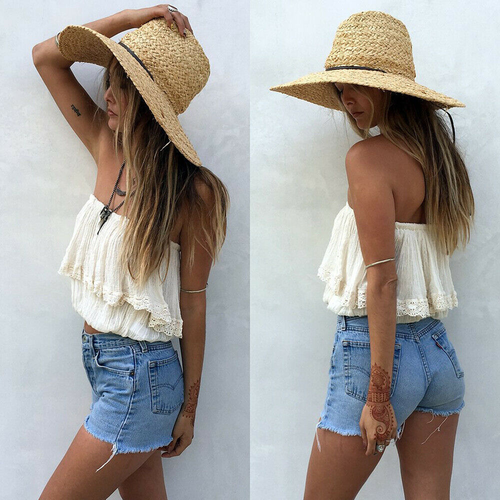 Summer Women Tops 2019 New Sexy Sleeveless Off Shoulder Solid Loose Strapless Short