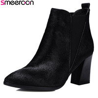 Smeeroon 2018 new arrival fashion autumn women boots high quality horsehair leather boots high heels slip on ankle boots