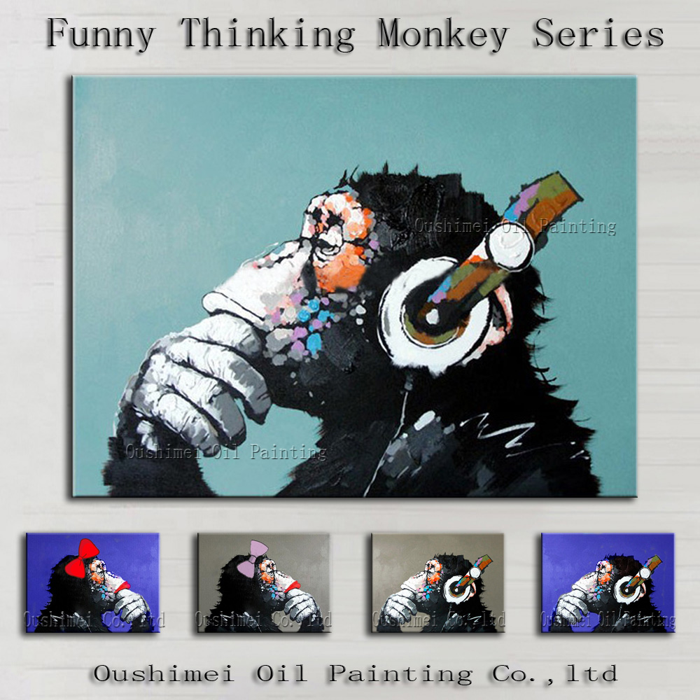 Dekorative Kunst Handgefertigte Affe Ölgemälde Auf Leinwand ...