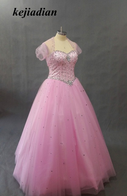 real photo 2017 Latest Design Ball Gown Quinceanera Dresses Pink With Jacket Dress 15 Years Sweetheart Beaded Bodice