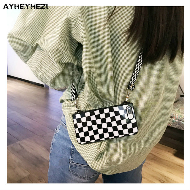 Black White Checkered Plaid Phone Crossbody Case Cover with long strap chain for iPhone 11 PRO XS MAX XR X 6S 7 8 plus Case Cove