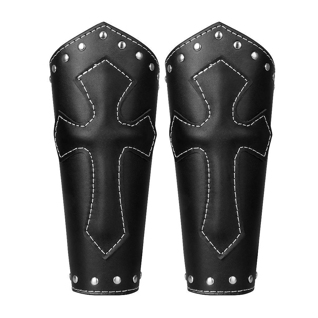 2Pieces Unisex PU Leather Gauntlet Style Wristband Wide Bracer Arm Cuff Bangle With Cross Charms Ethnic Charms - Black