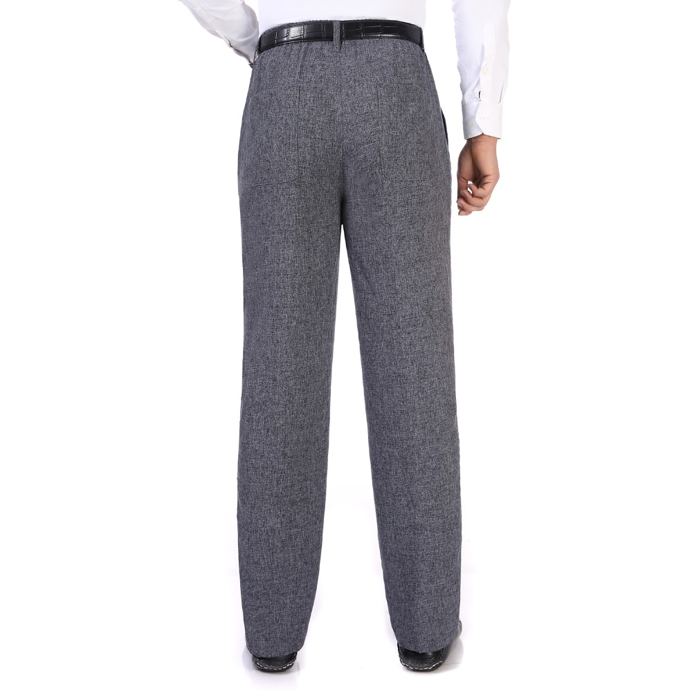 Summer Spring Man Linen Pant Dark Gray Business Casual Trouser Male Plus Size Elastic Band Waist Pantalones Homme Office Pant in Casual Pants from Men 39 s Clothing