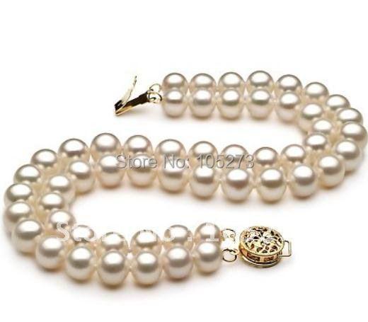 Pérola jóias AA 8 - 9 MM 2 linhas cor branca Genuine água doce pulseira de pérolas de moda da menina jóias New grátis frete feminina
