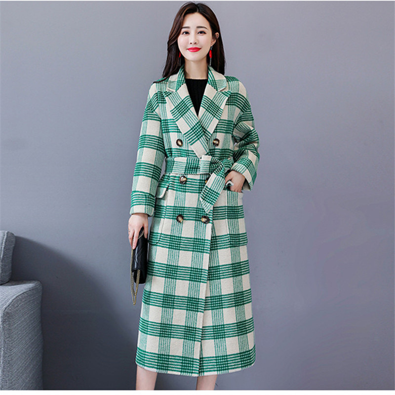 Plaid M Winter lange Weise elegante Vintage und ntel Art beil Mantelbergre ufige koreanische Frauen warme wolle thQsBodxrC